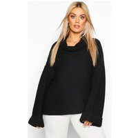 Womens Plus Cowl Neck Jumper With Split Side Seam - black - 18, Black