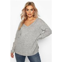 Womens Plus Jumper With V Neck Detail Front And Back - Grey - 22, Grey