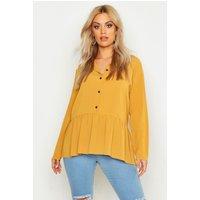 Womens Plus Peplum Hem Shirt - yellow - 22, Yellow