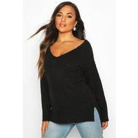 Womens Petite Jumper With V Neck Detail Front And Back - black - S, Black