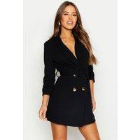 Womens Petite Self Belt Button Blazer Dress - Black - 4, Black
