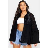Womens Plus Broderie Anglaise Tassel Trim Kimono - black - 20, Black