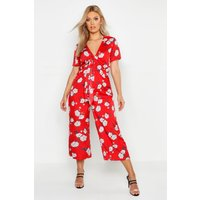 Image of Womens Plus Floral Print Knot Front Culotte Jumpsuit - red - 16, Red