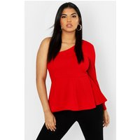 Womens Plus One Shoulder Peplum Top - red - 24, Red
