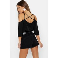Womens Petite Strappy Back Basic Woven Cami - black - 6, Black