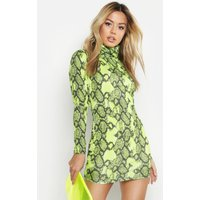 Womens Petite Neon Snake Roll Neck Bodycon Dress - green - 4, Green