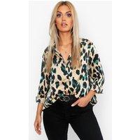 Womens Plus Satin Leopard Shirt - black - 24, Black