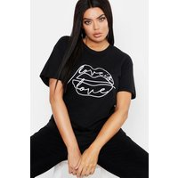 Womens Plus Lips Sketch Slogan T-Shirt - Black - 24, Black