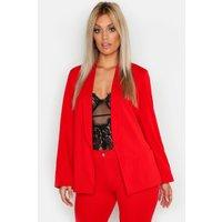Womens Plus Tie Waist Blazer - red - 18, Red