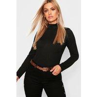 Womens Plus Crepe Roll Neck Top - black - 20, Black