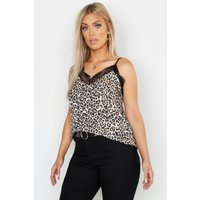 Womens Plus Leopard Print Cami Top - Beige - 20, Beige