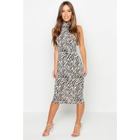 Womens Petite Zebra Print Slinky High Neck Dress - Beige - 4, Beige
