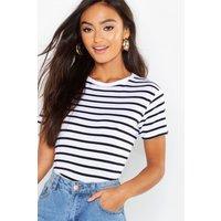 Womens Petite Striped Boxy Fit T-Shirt - White - 6, White