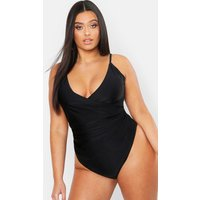 Womens Plus Control Wrap Over Swimsuit - black - 22, Black