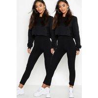 Womens Petite Two Pack High Waist Legging - black - 12, Black