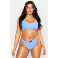 Womens Plus Buckle Crop Bikini - blue - 22, Blue