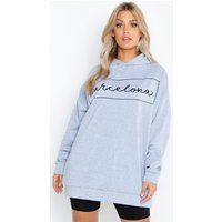 Womens Plus Barcelona Oversized Hooded Sweat - grey - 22, Grey