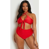 Womens Plus Tie Front High Waist Bikini Set - red - 20, Red