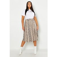 Womens Plus Jersey Animal Print Midi Skater Skirt - beige - 18, Beige