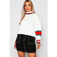 Womens Plus Roll Neck Stripe Detail Jumper - white - 18, White