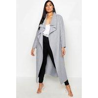 Womens Plus Maxi Length Wool Look Wrap Coat - Grey - 16, Grey