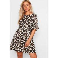 Womens Plus Leopard Print Smock Dress - Brown - 22, Brown