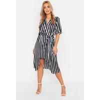 Womens Plus Satin Stripe Wrap Tie Waist Midi Dress - black - 16, Black