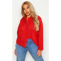 Womens Plus Broderie Oversized Shirt - Red - 28, Red