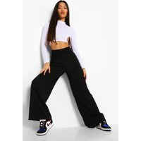 Womens Petite High Waisted Wide Leg Trouser - black - 4, Black