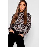 Womens Petite Leopard Print roll/polo neck Top - beige - 10, Beige