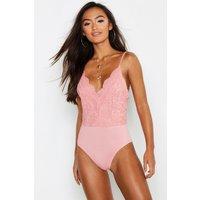 Womens Petite Scallop Edge Strappy Lace Bodysuit - Pink - L, Pink