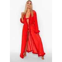 Womens Plus Gemma Collins Kimono Dressing Gown With Fluffy Trim - Red - 6, Red