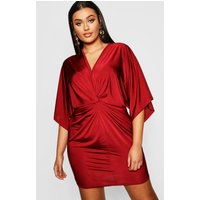 Womens Plus Disco Slinky Twist Front Dress - red - 16, Red