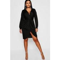 Womens Plus Disco Slinky Twist Front Wrap Dress - black - 18, Black