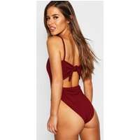 Womens Petite Ribbed Tie Back Bodysuit - red - 14, Red