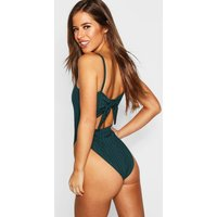 Womens Petite Ribbed Tie Back Bodysuit - green - 12, Green