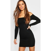 Womens Petite Ribbed Scoop Neckline Bodycon Dress - black - 10, Black