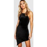 Womens Petite Velvet High Neck Asymmetric Bodycon Dress - black - 12, Black