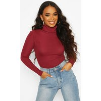 Womens Petite Rib Long Sleeved Roll/Polo Neck Top - Red - 6, Red