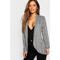 Womens Petite Check Pocket Detail Blazer - Grey - Xs, Grey