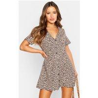 Womens Petite Leopard Print Button Shift Dress - Brown - 6, Brown