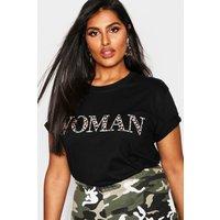 Womens Plus Woman Leopard Oversized T Shirt - black - 22, Black