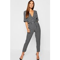Womens Petite Dogtooth Trouser - black - 4, Black
