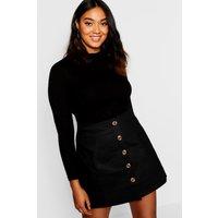 Womens Plus Horn Button Utility Skirt - Black - 20, Black