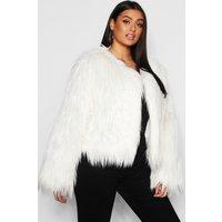 Womens Plus Shaggy Faux Fur Jacket - White - 20, White