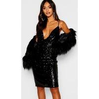 Womens Petite Sequin Cowl Neck Midi Dress - black - 4, Black