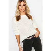 Womens Petite Off The Shoulder Waffle Knit Jumper - white - S, White