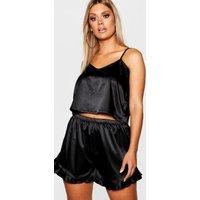Womens Plus Satin Ruffle Cami Pyjama Set - Black - 22, Black