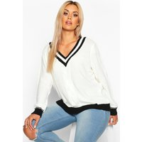 Womens Plus Contrast Oversized Cable Knit Jumper - white - 22, White