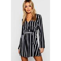 Womens Petite Black Wrap Over Stripe Shift Dress - 8, Black